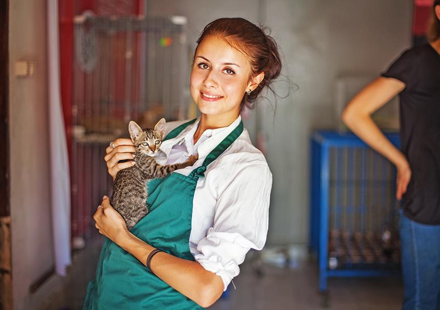 girl in animal shelter