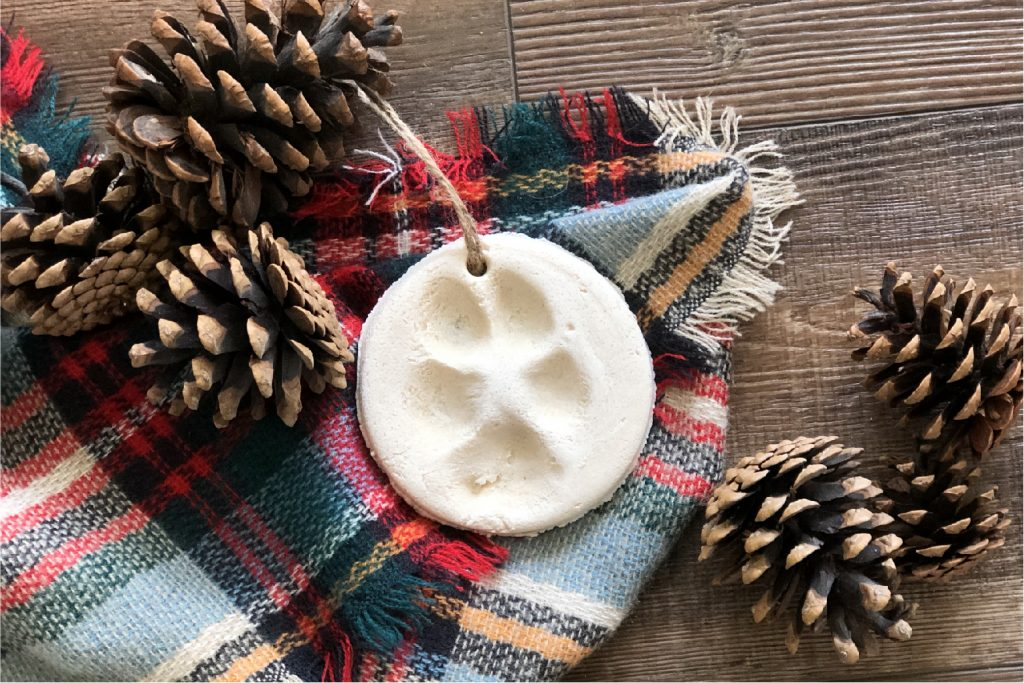 round salt dough ornament with a paw print on it surrounded by pinecones