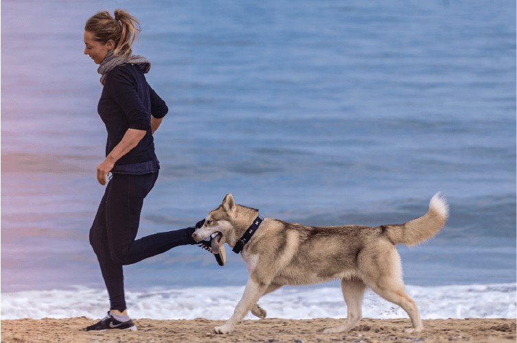 woman running on beach with husky